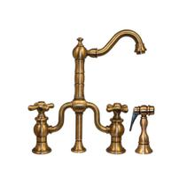 Twisthaus entertainment/prep bridge faucet with a short traditional swivel spout, cross handles, and a solid brass side spray.