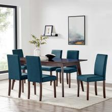 Prosper 7 Piece Upholstered Fabric Dining Set in Cappuccino Blue