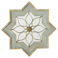 Distressed Blue & Gold Star Wall Mirror with Scroll Overlay