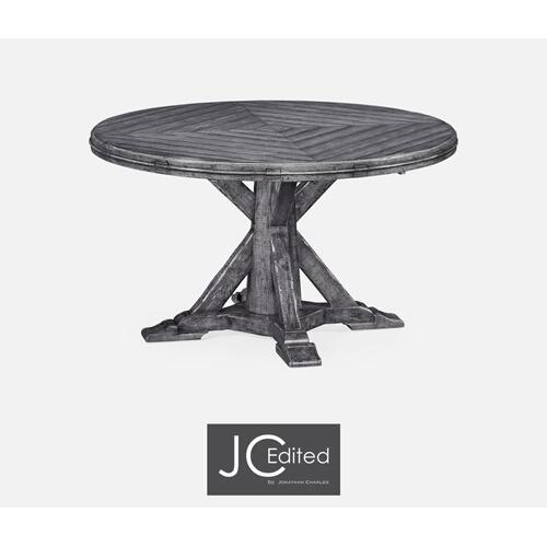 Antique dark grey parquet round-to-oval dining table
