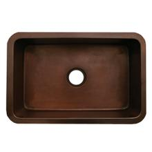 """Copperhaus rectangular undermount sink with a smooth texture and a 3 1/2"""" center drain - 14 gauge copper sink."""