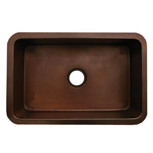 """Copperhaus rectangular undermount sink with a smooth texture and a 3 1/2"""" center drain - 14 gauge copper sink. Product Image"""