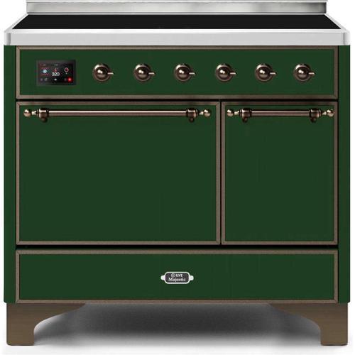 Majestic II 40 Inch Electric Freestanding Range in Emerald Green with Bronze Trim