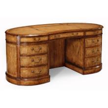 See Details - Walnut kidney pedestal desk