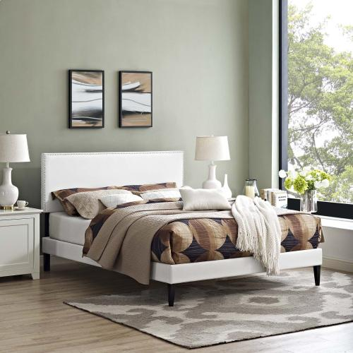 Modway - Macie Full Vinyl Platform Bed with Squared Tapered Legs in White