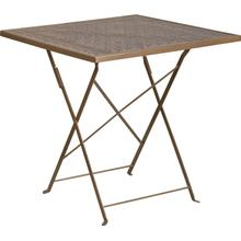"Commercial Grade 28"" Square Gold Indoor-Outdoor Steel Folding Patio Table"