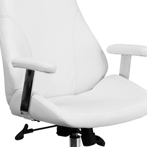 Gallery - Mid-Back White LeatherSoft Smooth Upholstered Executive Swivel Office Chair with Arms