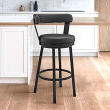"""View Product - Bryant 26"""" Counter Height Swivel Bar Stool in Black Finish and Black Faux Leather"""