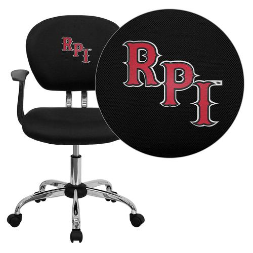 Rensselaer Polytechnic Institute Embroidered Black Mesh Task Chair with Arms and Chrome Base