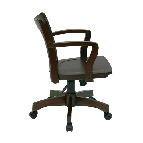 Deluxe Wood Banker's Chair With Wood Seat In Espresso Wood Finish