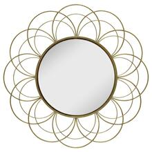 "Metal 32"" Flower Frame Mirror, Gold Wb"