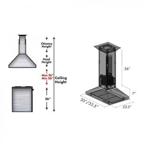 Zline Kitchen and Bath - ZLINE Designer Series Oil-Rubbed Bronze Island Mount Range Hood (8GL2Bi) [Size: 30 Inch]