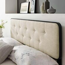 Collins Tufted Full Fabric and Wood Headboard in Black Beige