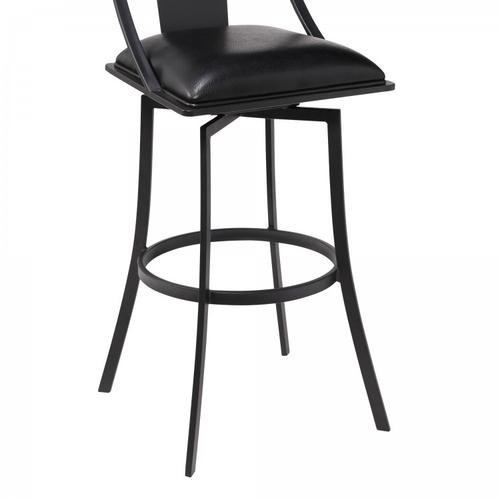 """Armen Living - Brisbane Contemporary 26"""" Counter Height Barstool in Matte Black Finish and Black Faux Leather"""