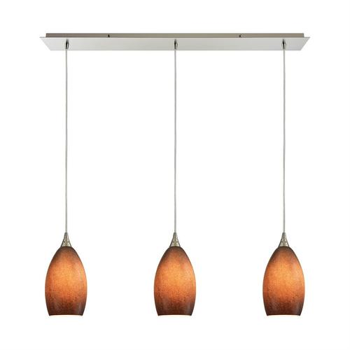 Earth 3-Light Linear Mini Pendant Fixture in Satin Nickel with Textured Sand Glass