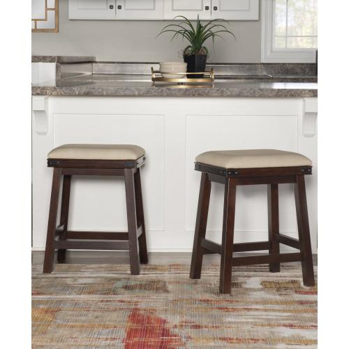 Upholstered Seat and Backless Counter Stool, Espresso