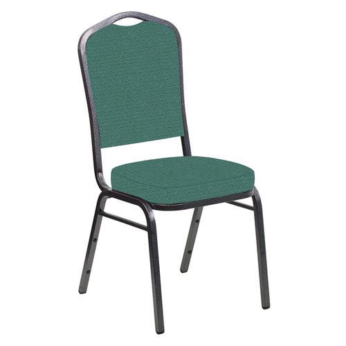 Crown Back Banquet Chair in Venus Aloe Fabric - Silver Vein Frame