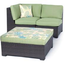 Metropolitan Woven Ottoman and Cushion, Green - AGF11108F04