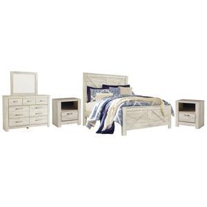 Queen Crossbuck Panel Bed With Mirrored Dresser and 2 Nightstands