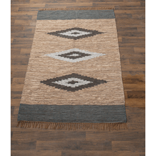Brown & Blue Diamond Pattern Leather Chindi 5' x 8' Rug. Each One Will Vary.
