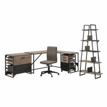 See Details - 62W L Shaped Industrial Desk and Chair Set with Storage, Rustic Gray/Charred Wood