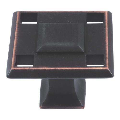 Modern Craftsman Square Knob 1 5/16 Inch - Venetian Bronze