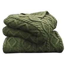 Cable Knit Soft Wool Throw Blanket (3 Colors) - Sage Green