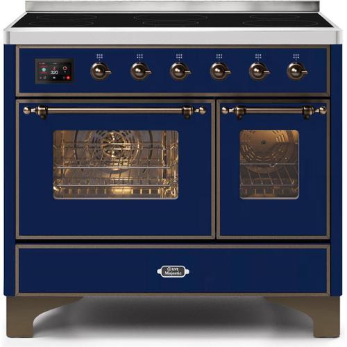 Majestic II 40 Inch Electric Freestanding Range in Blue with Bronze Trim