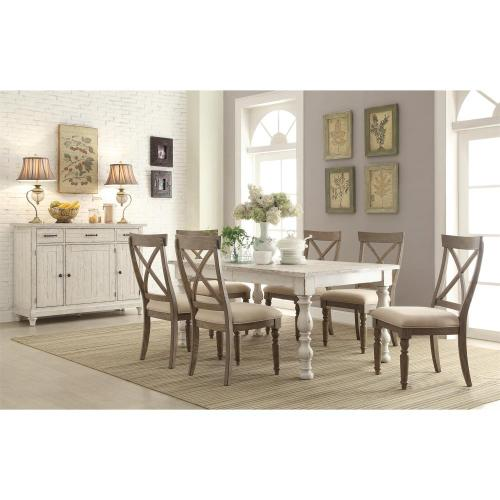 Aberdeen - Rectangular Dining Table - Weathered Worn White Finish
