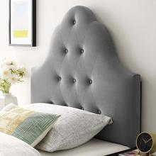 View Product - Sovereign Twin Diamond Tufted Performance Velvet Headboard in Gray