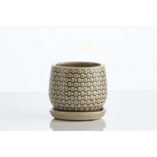 Basketweave Petits Pots w/ attchd saucer, Set of 2