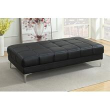 Milenia XL Cocktail Ottoman, Black-bonded-leather