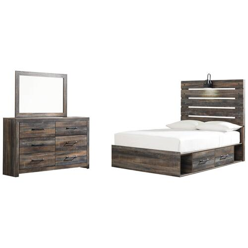 Ashley - Full Panel Bed With 4 Storage Drawers With Mirrored Dresser