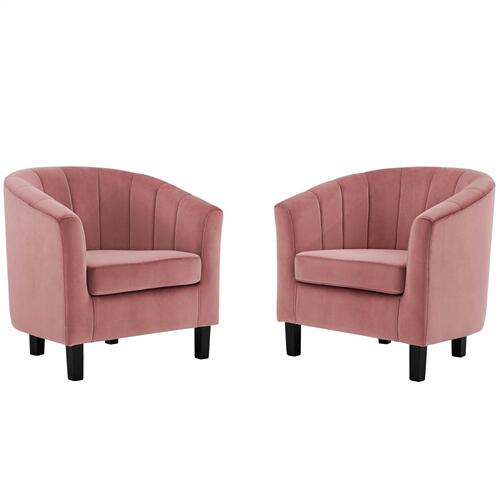 Prospect Channel Tufted Performance Velvet Armchair Set of 2 in Dusty Rose