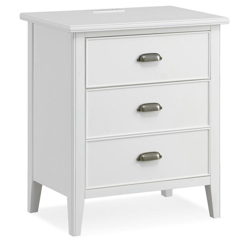 Night Stand w/Top Drawer, Door and 2-plug Electrical Outlet #10522-WT