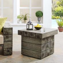 Manteo Rustic Coastal Outdoor Patio Side Table in Light Gray