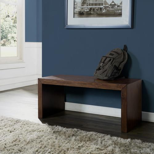 Minimalist Modern Wooden Bench in Brown