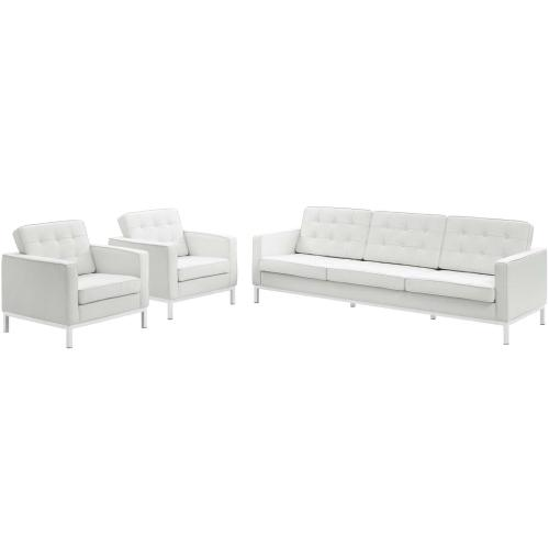 Loft 3 Piece Leather Sofa and Armchair Set in Cream White