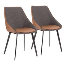 Marche Two-tone Chair - Set Of 2 - Black Metal, Brown Pu, Grey Fabric