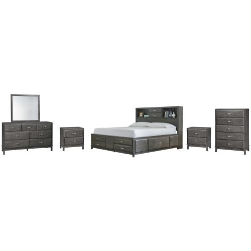 California King Storage Bed With 8 Storage Drawers With Mirrored Dresser, Chest and 2 Nightstands