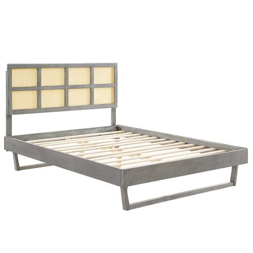 Sidney Cane and Wood Queen Platform Bed With Angular Legs in Gray