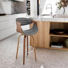 """See Details - Arya 30"""" Swivel Bar Stool in Grey Faux Leather and Walnut Wood"""