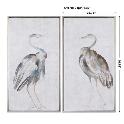 Summer Birds Hand Painted Canvases, S/2