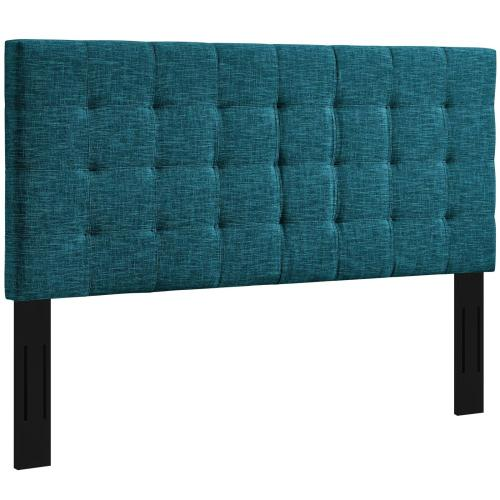 Paisley Tufted Twin Upholstered Linen Fabric Headboard in Teal