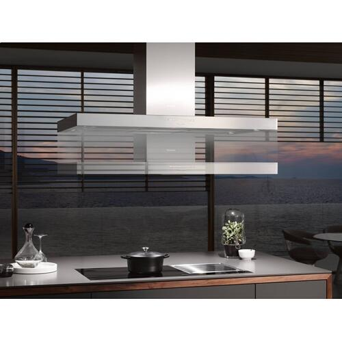 Island décor hood with energy-efficient LED lighting and backlit controls for easy use.