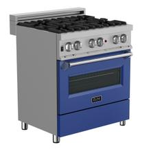 ZLINE 30 in. Professional Dual Fuel Range in DuraSnow® Stainless Steel with Blue Matte Door (RAS-BM-30)