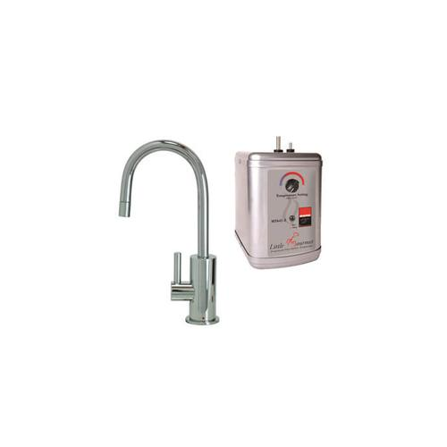 Hot Water Faucet with Contemporary Round Body & Handle & Little Little Gourmet® Premium Hot Water Tank - Polished Chrome