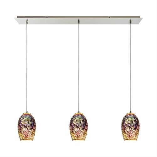 Illusions 3-Light Linear Mini Pendant Fixture in Satin Nickel with Fireworks Glass