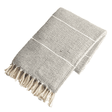 Dark Grey with Natural Stripe Woven Throw