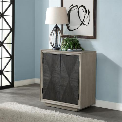 Two Door Duotone Parquet Wood Chest in Oak Brown
